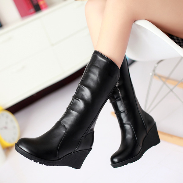 Women's PU Wedge Heel Pumps Platform Wedges Boots Mid-Calf Boots Snow Boots With Ruffles Zipper shoes