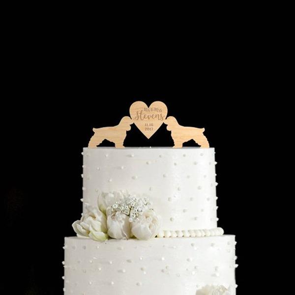Personalizado Amor Projeto Madeira Decorações de bolos