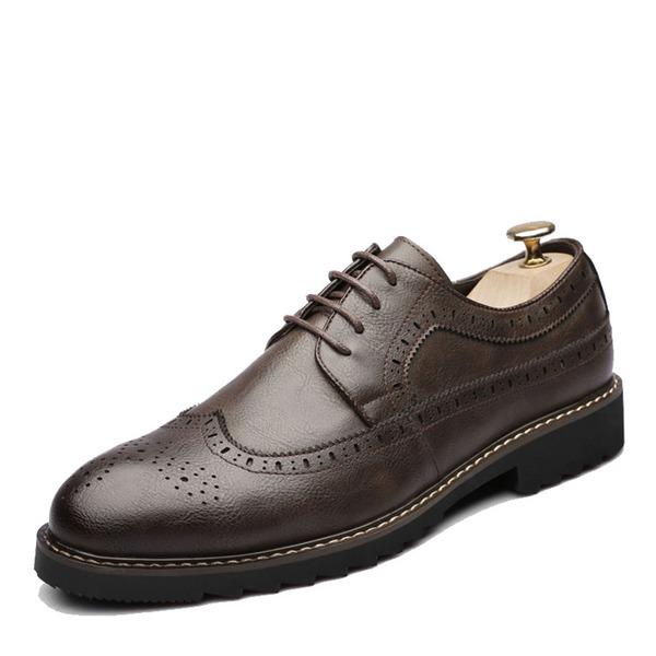Erkek suni deri Bağcıklı Brogue Elbise Ayakkabıları Erkek Oxford Ayakkabı