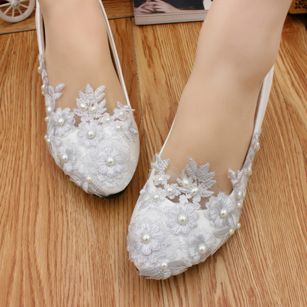 Women's Leatherette Flat Heel Closed Toe Flats With Imitation Pearl Applique
