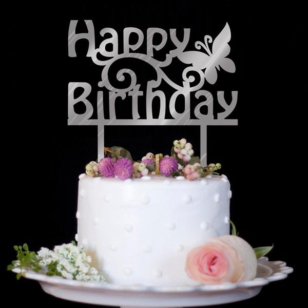 Vacker fjäril/Grattis på födelsedagen Akryl Tårtdekoration (Säljs i ett enda stycke)