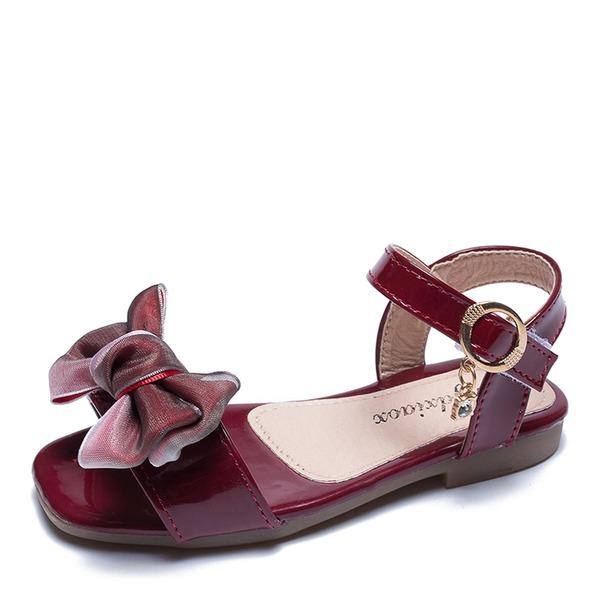 Fille de À bout ouvert escarpin-sandale similicuir talon plat Sandales Chaussures plates avec Bowknot Velcro