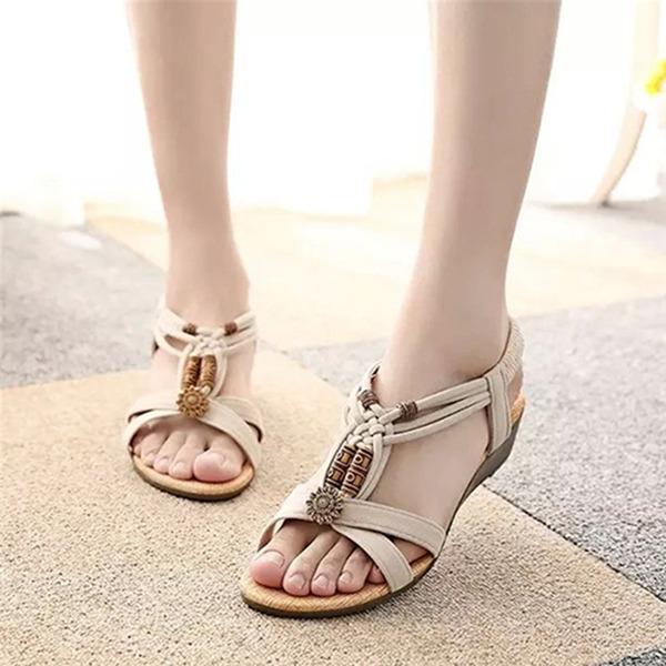 Vrouwen Suede Wedge Heel Sandalen Peep Toe Slingbacks met Kralen Klinknagel Elastiek schoenen