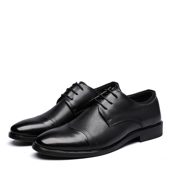 Hommes Vrai Cuir Dentelle Décontractée Travail Chaussures Oxford pour hommes