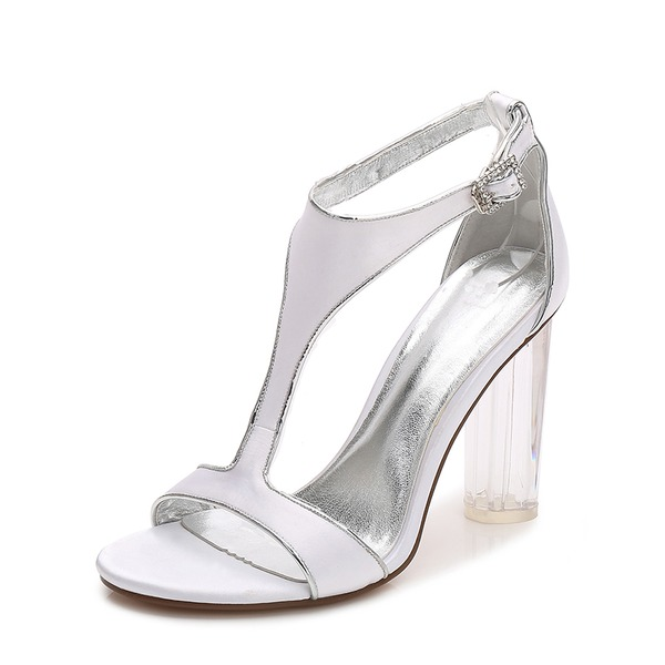 Women's Silk Like Satin Chunky Heel Peep Toe Pumps Sandals With Buckle