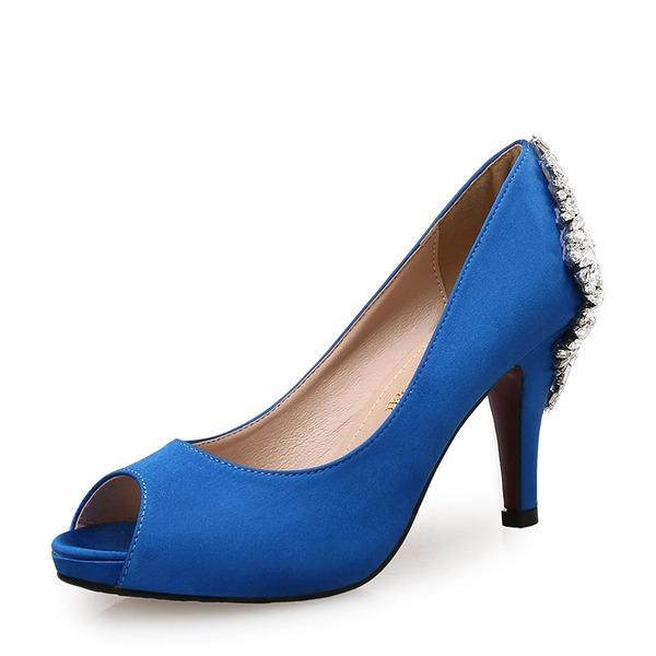 Kvinnor Satäng Stilettklack Pumps Peep Toe med Strass Spänne skor