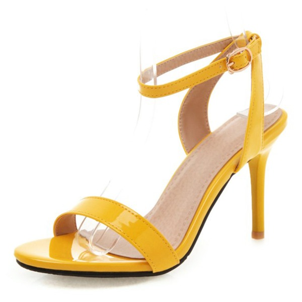 De mujer Cuero Tacón stilettos Sandalias Salón Encaje Solo correa con Hebilla zapatos