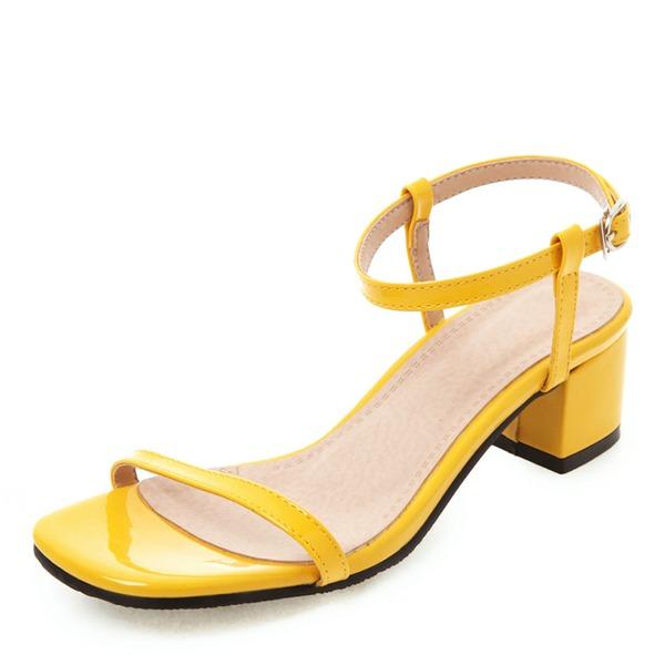 De mujer Piel brillante Tacón ancho Sandalias Encaje Solo correa con Hebilla zapatos