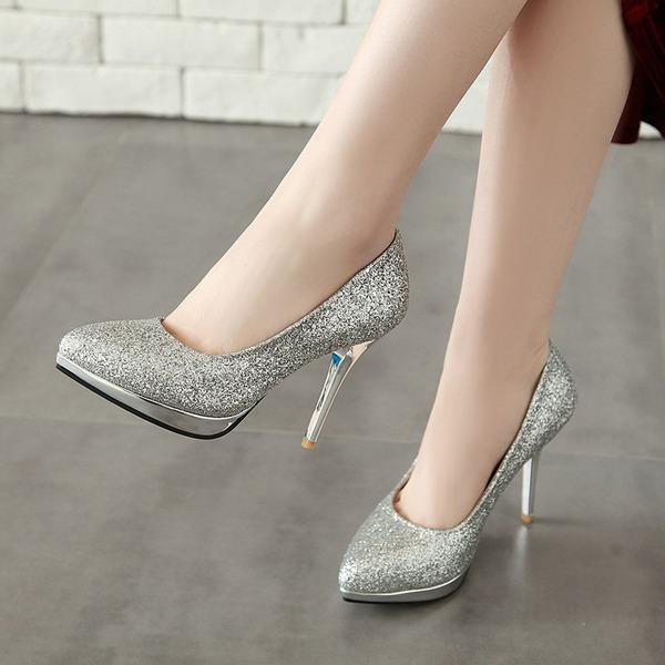 Femmes Similicuir Talon stiletto Escarpins Plateforme Bout fermé avec Paillette chaussures