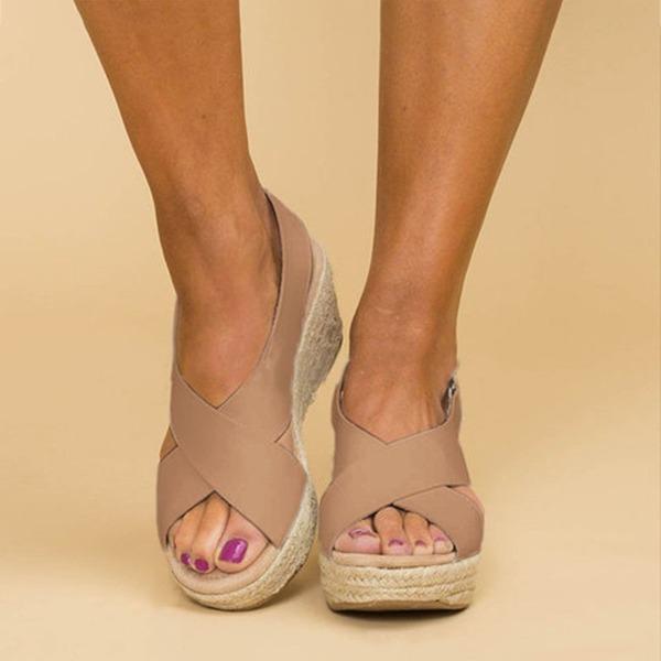 Women's PU Wedge Heel Sandals Wedges Peep Toe shoes