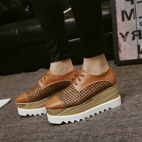 Women's Leatherette Flats Closed Toe With Lace-up Hollow-out shoes