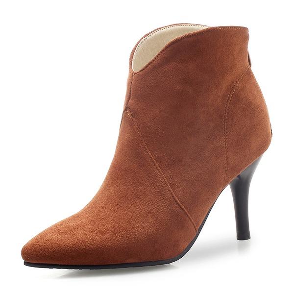 Mulheres Camurça Salto agulha Bombas Fechados Botas Bota no tornozelo com Zíper sapatos