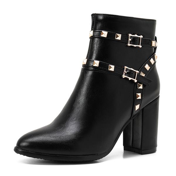 Kvinner Lær Stiletto Hæl Pumps Lukket Tå Støvler Mid Leggen Støvler med Rivet Glidelås sko
