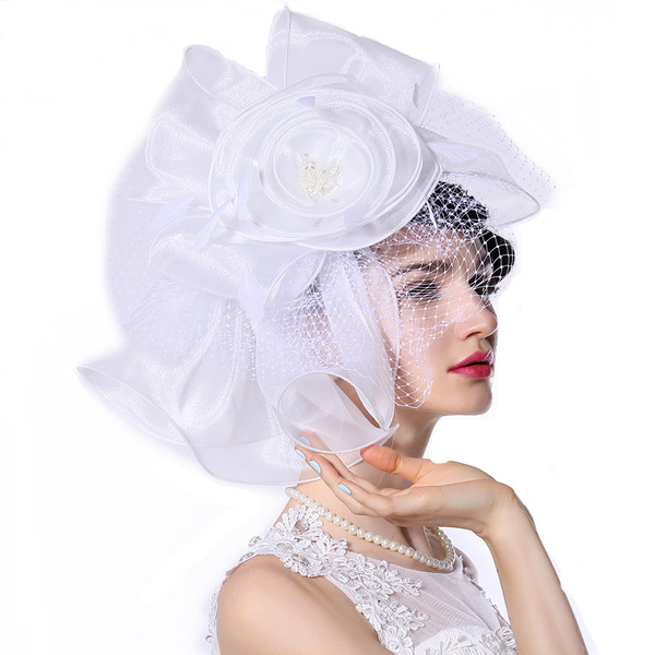 Ladies' Special/Glamourous/Exquisite Organza With Imitation Pearls/Tulle/Flower Kentucky Derby Hats/Tea Party Hats