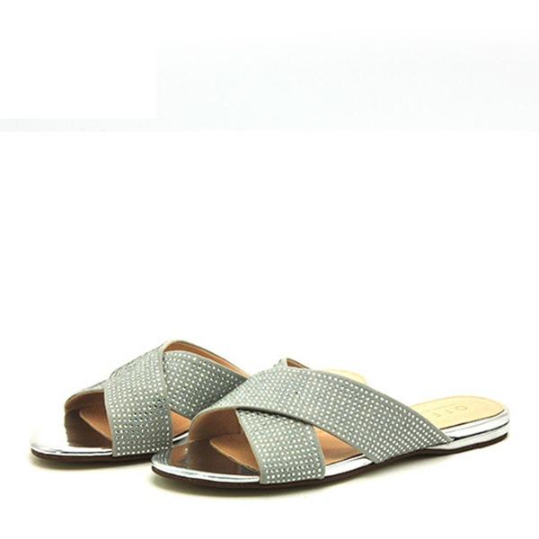 Naisten PVC Matalakorkoiset Heel Sandaalit Matalakorkoiset Tossut jossa Tekojalokivi kengät