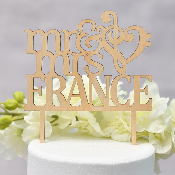 Personalized Heart/Mr. & Mrs. Wood Cake Topper (Sold in a single piece)