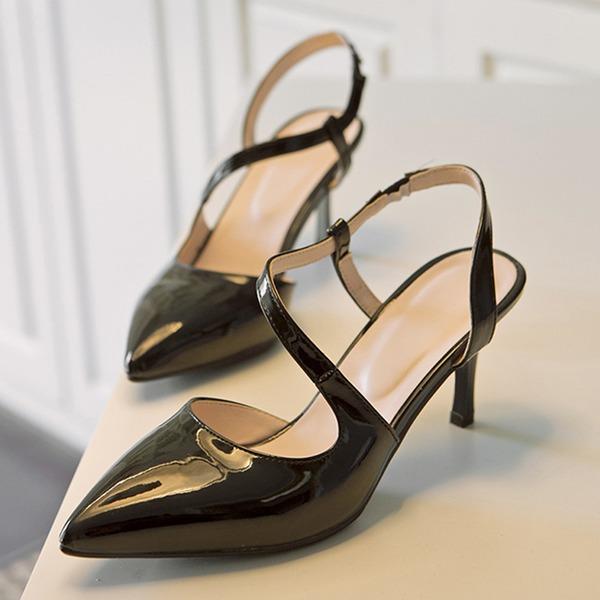 Naisten Kiiltonahka Piikkikorko Sandaalit jossa Ontto-out kengät