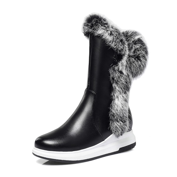 Women's Leatherette Low Heel Platform Boots Snow Boots With Fur shoes