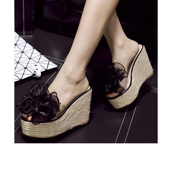 Frauen PVC Keil Absatz Sandalen Keile Pantoffel mit Blume Schuhe