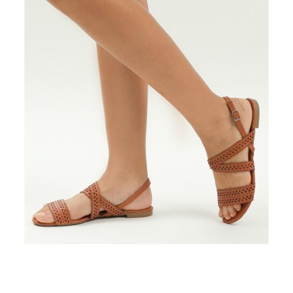 Femmes PU Talon plat Sandales Chaussures plates À bout ouvert Escarpins avec Ouvertes chaussures