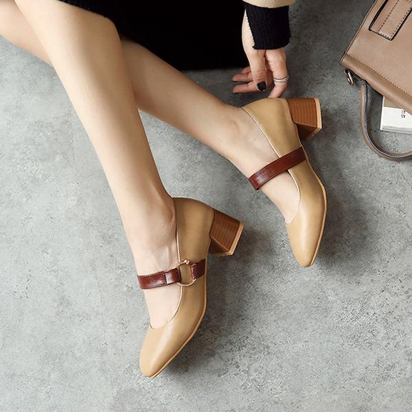 Donna PU Tacco spesso Stiletto Punta chiusa con Fibbia scarpe