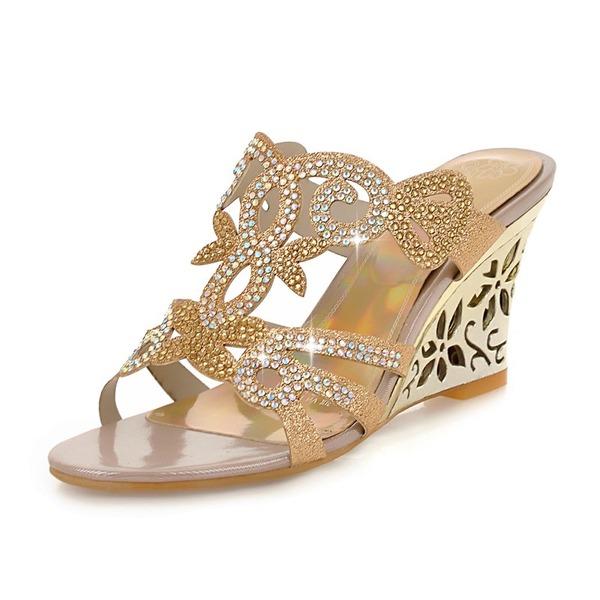 Donna Similpelle Zeppe Sandalo Zeppe Punta aperta con Strass scarpe