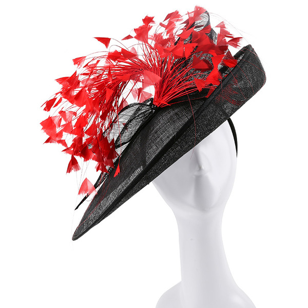Dames Unique/Exquis/Accrocheur Batiste avec Feather Kentucky Derby Des Chapeaux/Chapeaux Tea Party