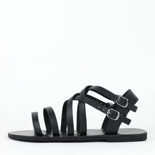 Женщины кожа Плоский каблук Сандалии На плокой подошве с пряжка обувь