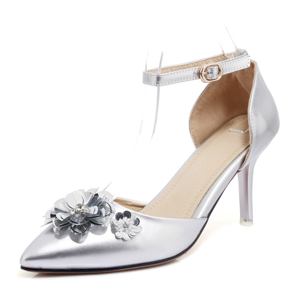 Women's Leatherette Stiletto Heel Pumps Closed Toe With Buckle Flower shoes