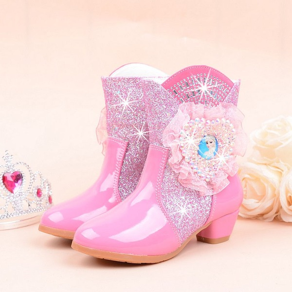 Girl's Closed Toe Microfiber Leather Low Heel Boots Flower Girl Shoes With Crystal