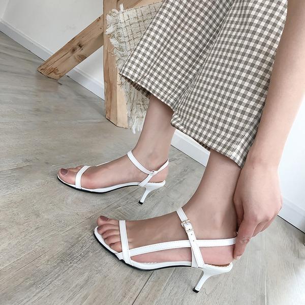 Kvinnor Konstläder Stilettklack Sandaler Pumps Peep Toe Slingbacks med Spänne skor