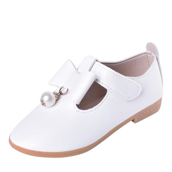 Kızlar Yuvarlak Ayak Kapalı Toe Deri Daireler Çiçek Kız Ayakkabıları Ile İlmek Cırt Cırt