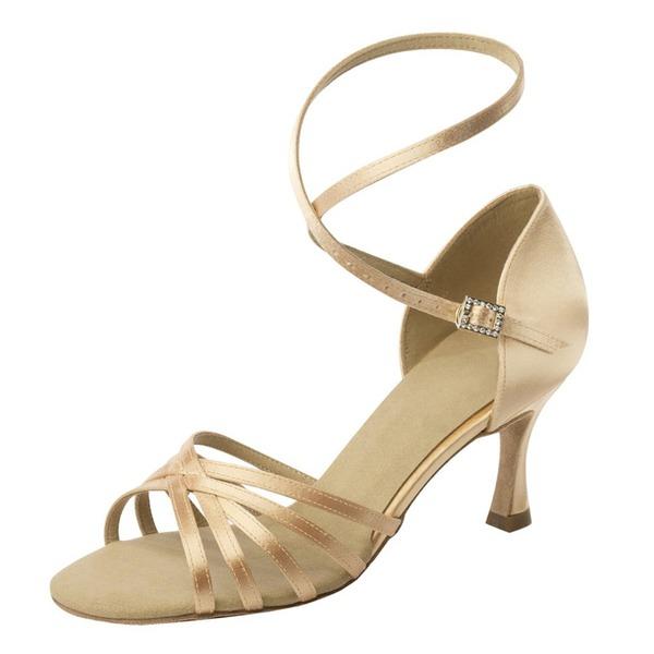 Женщины Атлас На каблуках Сандалии Латино с Ремешок на щиколотке Обувь для танцев