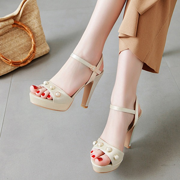 Women's Leatherette Chunky Heel Sandals Pumps Platform With Imitation Pearl shoes