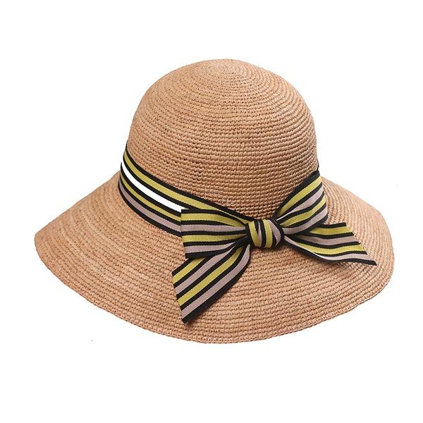 Dames Mode Raffia Stro met strik/Vlas Strohoed