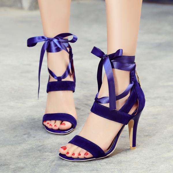 Women's Leatherette Stiletto Heel Sandals Pumps Peep Toe With Ribbon Tie Zipper Lace-up shoes