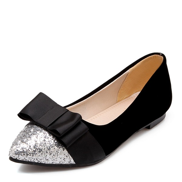 Women's Sparkling Glitter Silk Like Satin Flat Heel Flats Closed Toe With Bowknot shoes