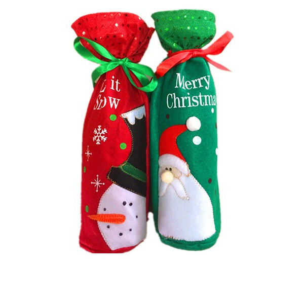 New Year Party Christmas Day Red Wine Bottle Holder Favor Bag (Sold in a single piece)