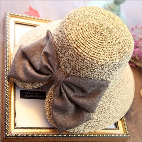 Dames Mode Rotin paille avec Bowknot Disquettes Chapeau/Chapeaux de plage / soleil