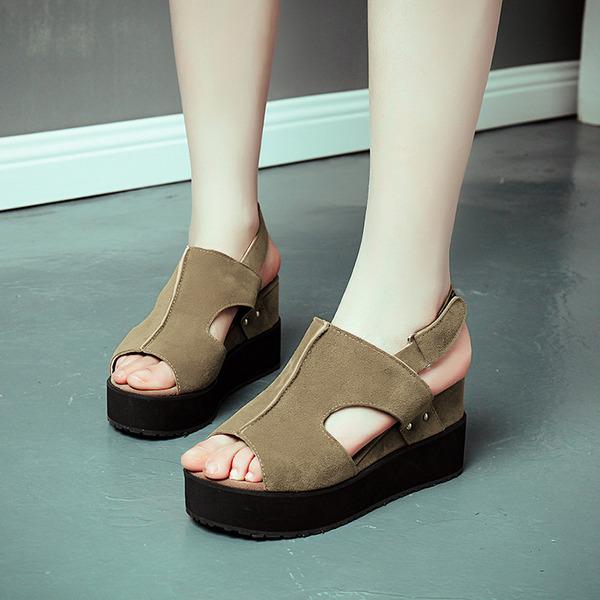 Naisten Mokkanahka Wedge heel Sandaalit Avokkaat Kiilat Peep toe jossa Muut kengät