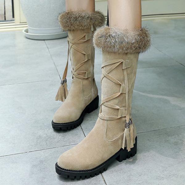 Vrouwen Suede Chunky Heel Laarzen Half-Kuit Laarzen met Vastrijgen Tassel schoenen