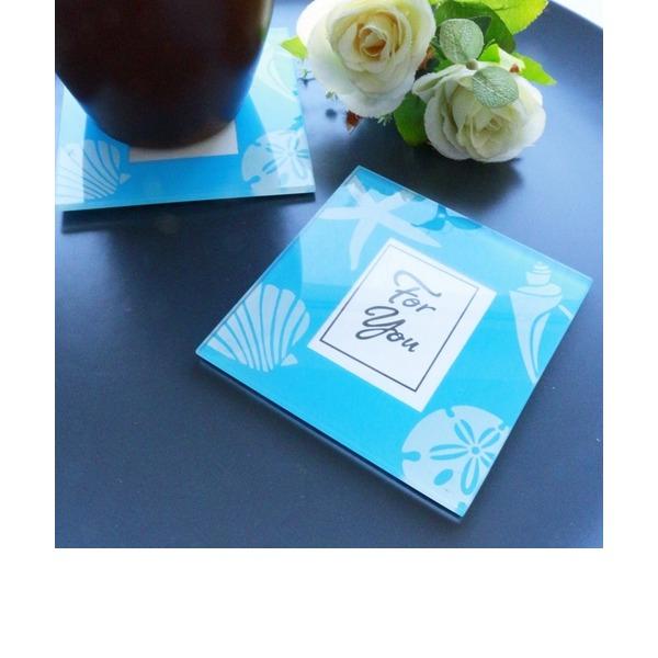 """""""Tee Zeit""""/Klassische Art Quadrat Glas Tee Party Gast-Geschenke/Untersetzer (Satz mit 2 Stück)"""