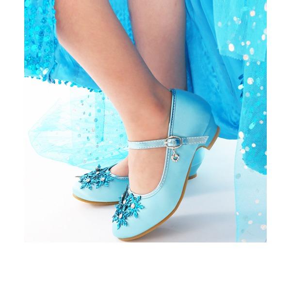 Flicka rund tå konstläder låg klack Pumps Flower Girl Shoes med Spänne Strass