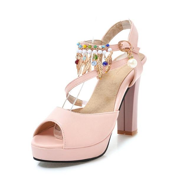Vrouwen PVC Chunky Heel Sandalen Pumps Plateau Peep Toe Slingbacks met Keten Tassel schoenen