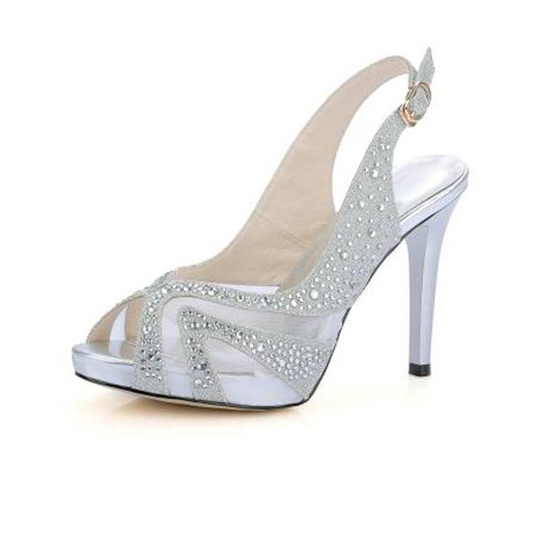 Frauen Funkelnde Glitzer Mesh Stöckel Absatz Absatzschuhe Sandalen mit Schnalle
