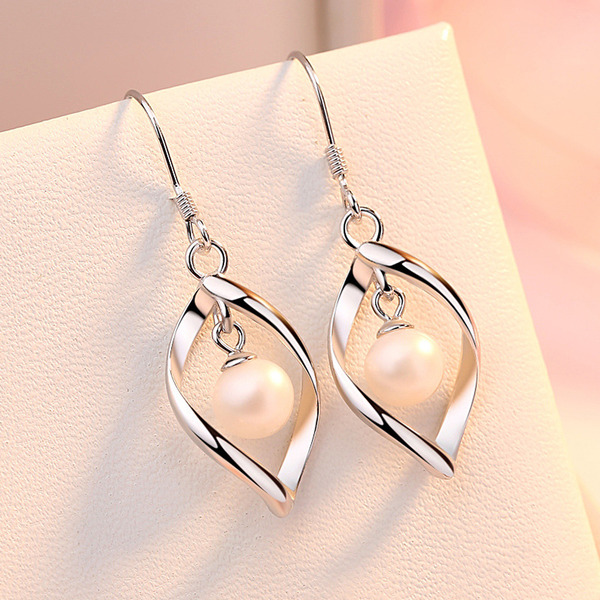 Ladies' Elegant 925 Sterling Silver Imitation Pearls Earrings For Bridesmaid/For Mother
