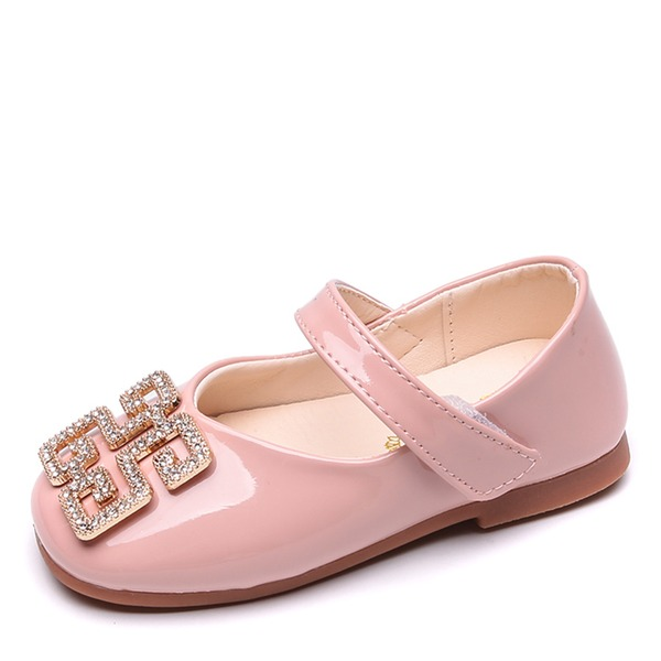 Jentas Round Toe Lukket Tå Leather flat Heel Flate sko Flower Girl Shoes med Crystal