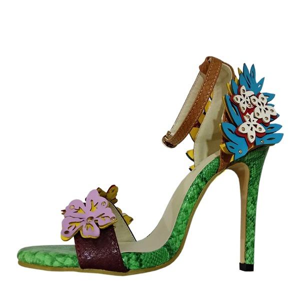 Frauen PU Stöckel Absatz Sandalen Absatzschuhe Peep Toe mit Satin Schleife Zweiteiliger Stoff Schuhe