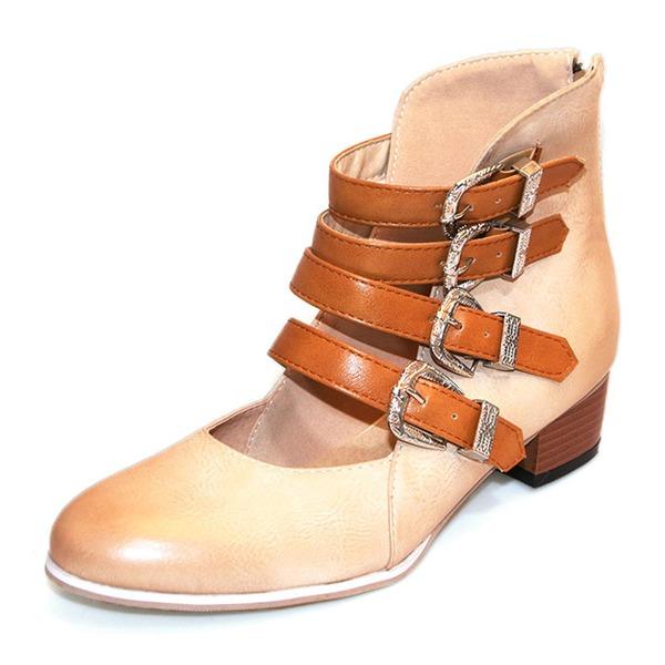 Женщины PU Устойчивый каблук Ботинки с пряжка обувь