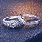 Sterling Silver Cyrkonia Delicje Okrągłe Cięcie Pierścionek zaręczynowy Zestawy ślubne
